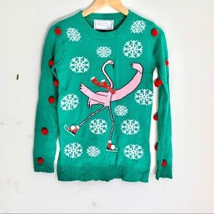 With Love Derek Christmas Sweater Flamingo